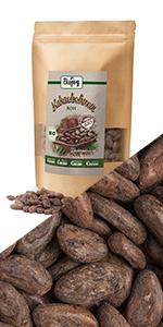 cacaobonen rauw heel niet gesteund ongezoet zonder zout suiker conserveermiddelen toevoegingen