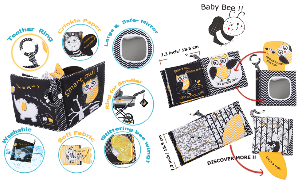 cloth books for infant babies soft book baby bee owl shark theme crinkle soft books clothes shower06