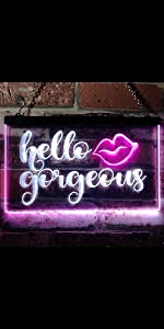 ADVPRO Dual-Color LED Neon Sign Home decor-ation wall Hello Beautiful Gorgeous lips sexy