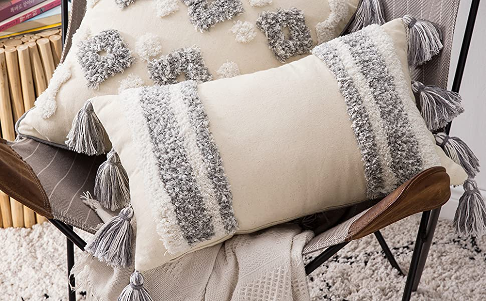 tufted woven tribal pillow cover boho decor accent pillows