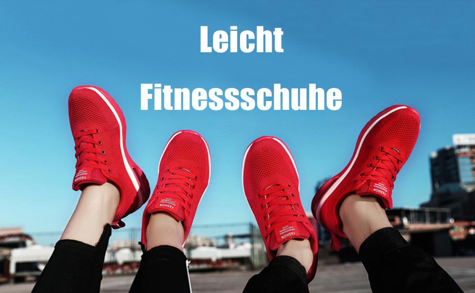 Damen Sportschuh Athletik Strick Luftkissen Rutschfest Sommer Sneaker Schnürer D
