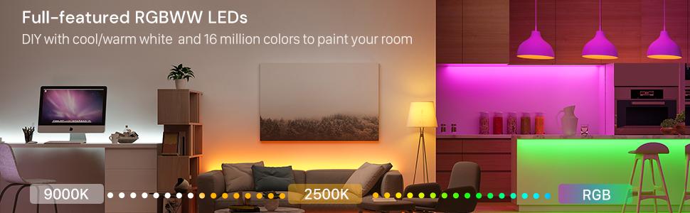 Amazon.com: Smart LED Strip Lights, Govee RGBWW WiFi Light