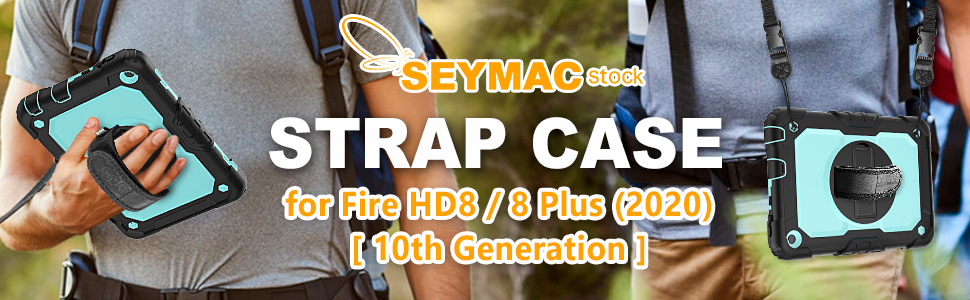 Fire HD 8 8Plus case 10th Generation 2020 Detachable/Adjustable Shoulder/Hand Straps