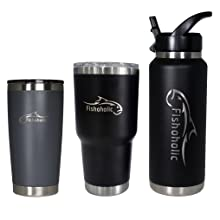 fishaholic tumbler mug cup coffee beer gift for men dad father day gift fisherman bass fishing gear