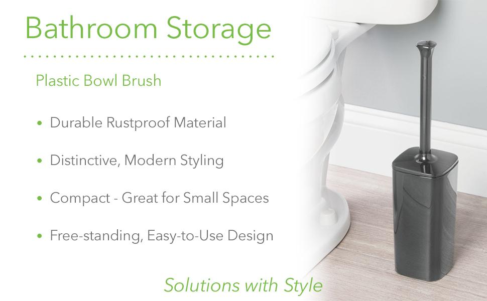 Bathroom Storage Plastic Bowl Brush Rustproof Modern Compact Free-standing Design