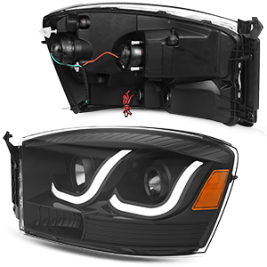 LED Tube DRL Projector Headlights Compatible with 2006-2009 Dodge Ram 1500 2500 3500