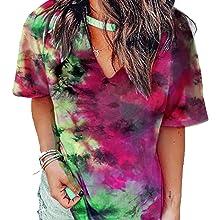 Tie Dye Shirts Summer  V Neck Choker T-Shirt Tops