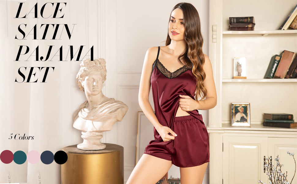 BEAUSOM Womens Cami Pajama Set Satin Sleepwear Set Silk Nightwear