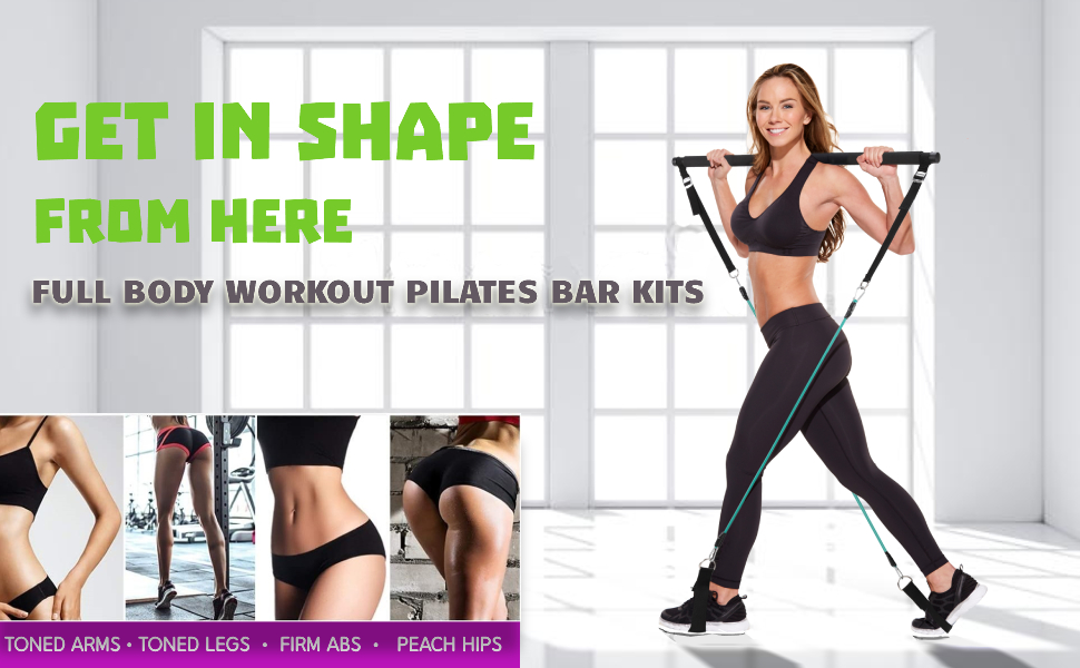 Pilates Bar Kit for Portable Home Gym Workout  Latex Exercise Resistance Band