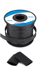 black wire sleeving,black wire loom,black braided cable sleeve,PET expandable braided sleeving
