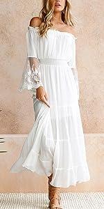 Women Off Shoulder Maxi Dress Bell Sleeve Lace Patchwork High Waist Party Wedding Bridesmaid Dress