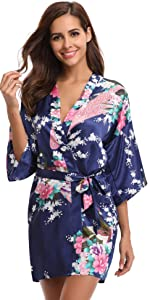 satin kimono robe for women