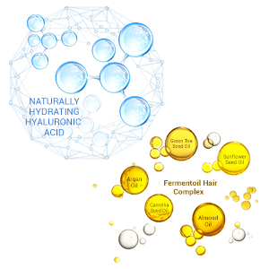 Naturally hydrating hyaluronic acid, award winning ingredient, fermentoil hair complex