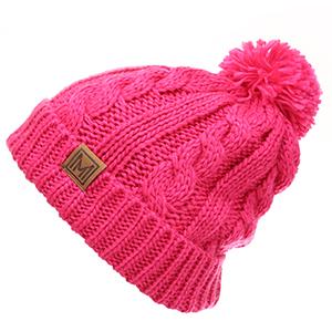 MIRMARU Kids Boys amp; Girls Winter Soft Warm Cable Knitted Pom Pom Beanie Hat with Fleece Lining.