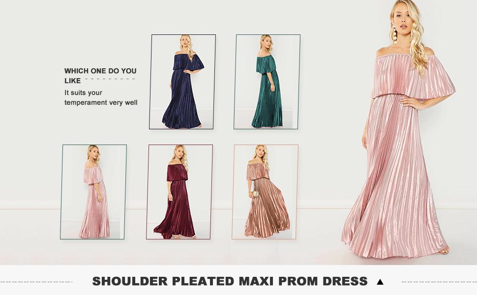 off shoulder party maxi dress