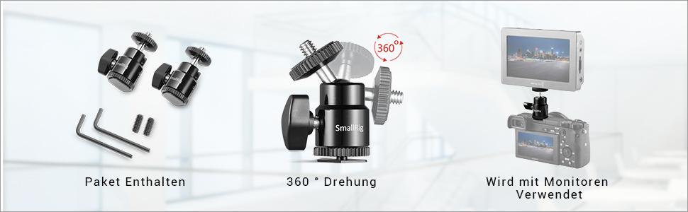 Smallrig Ball Head 2 Stück Mit Cold Shoe Adapter Für Kamera