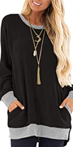 Women Casual Round Neck Tops with Pockets