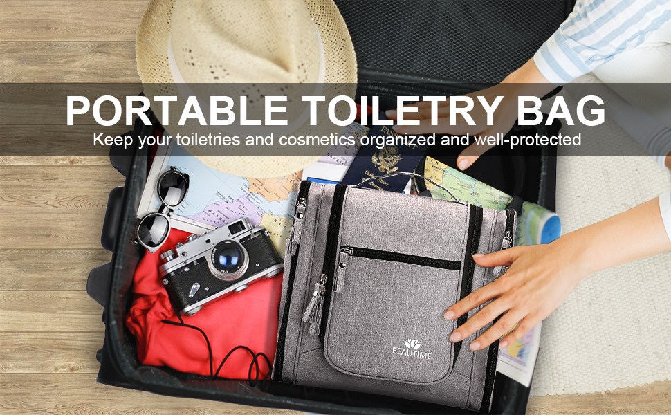 This Toiletry Bag is made of superb quality 300D polyester materials(Durable & Lightweight)