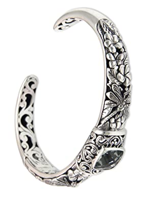 Prasiolite Sterling Silver Cuff Bracelet /'Dragonfly Frangipanis/' NOVICA Bali
