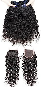 water wave hair bundles with closure