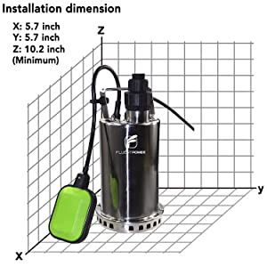 Utility Sump Pump with 3//4 Garden Hose Adapter Included Easy to use for Hot Tub Garden Pond Swimming Pool FLUENT POWER 3//4 HP Submersible Water Pump with Full Stainless Casing