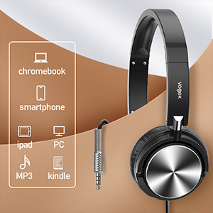 active noise cancelling headphone Wired on ear headset foldable lightweight deep bass microphone mic