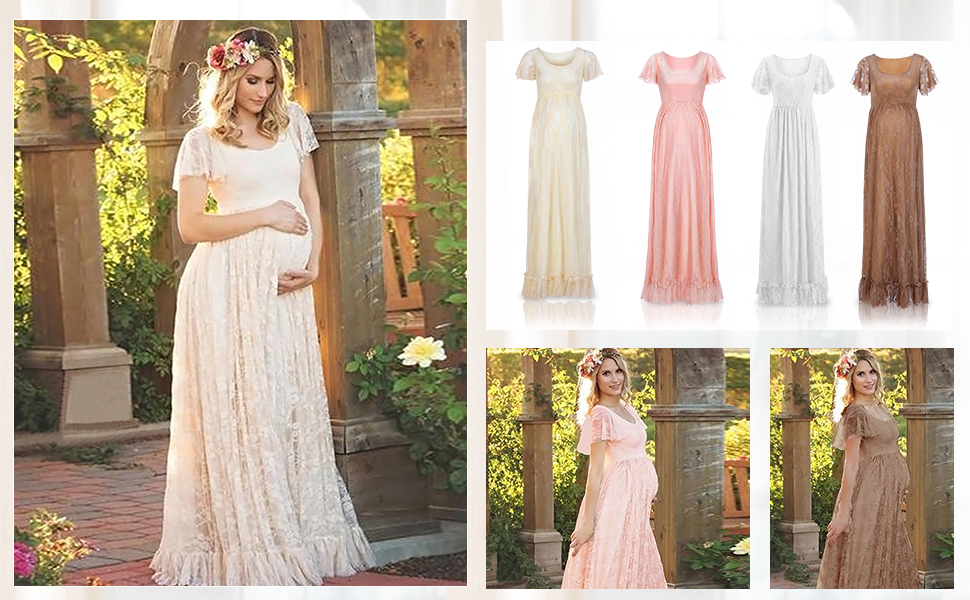 Iwemek Women Ruched Floral Lace Maternity Photography Prop Maxi Dress Fancy Wedding Pregnancy Gown For Baby Shower Photoshoot At Amazon Women S Clothing Store
