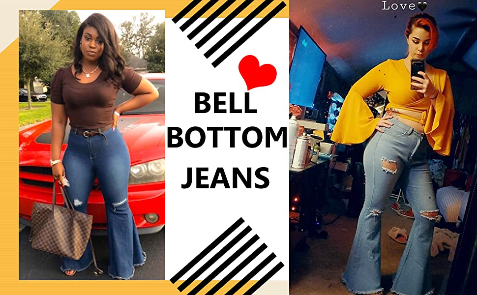 Ripped flare Bell bottom jeans for women
