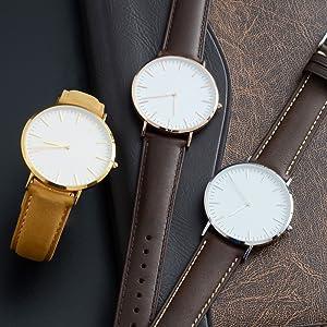WOCCI 21mm Correa de Reloj de Cuero Vintage con Hebilla de Oro ...