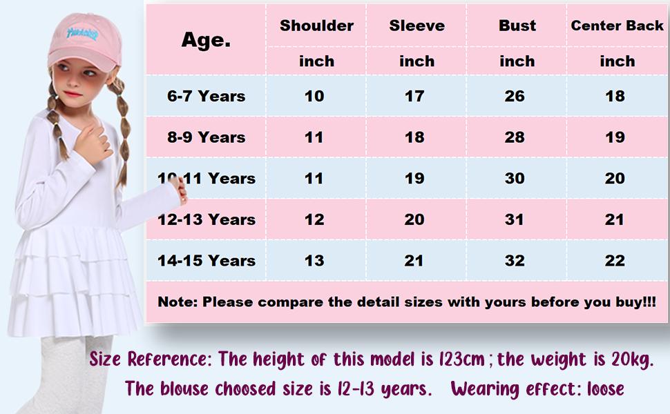 Tunic Ruffle Shirt's Size  Reference