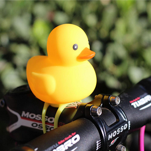 Silicone Riding Accessories Detachable Bicycle Head Light Duck Shape With Bell