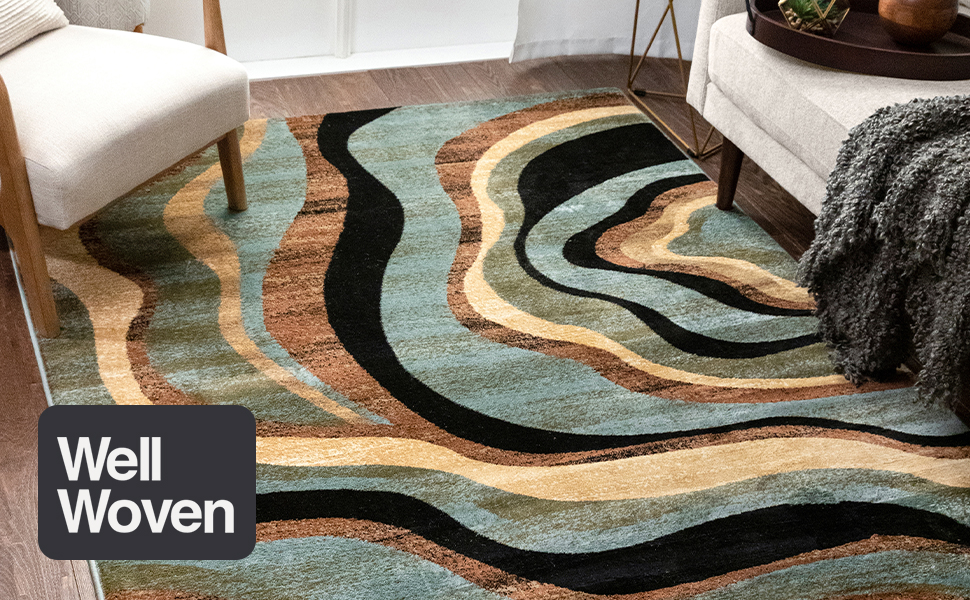 Hudson Waves Blue Brown Geometric Modern Casual Area Rug 7x10 6 7 X 9 6 Easy To Clean Stain Fade Resistant Shed Free Abstract Contemporary Natural Lines Multi Soft Living Dining