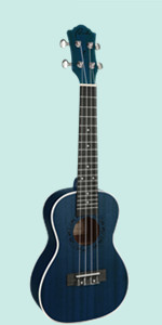 Concert Ukulele Ranch 23 inch ukelele Instrument Online Lessons Gig Bag Hawaiian Guitar Blue