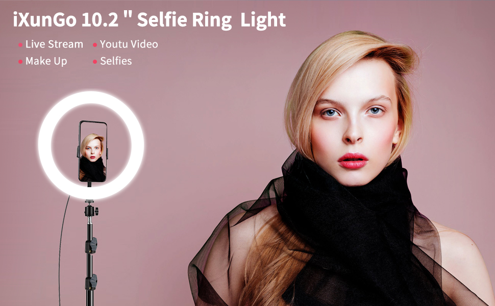 "10.2"" Selfie Ring Light with Tripod Stand & Cell Phone Holder for Live Stream/Makeup"