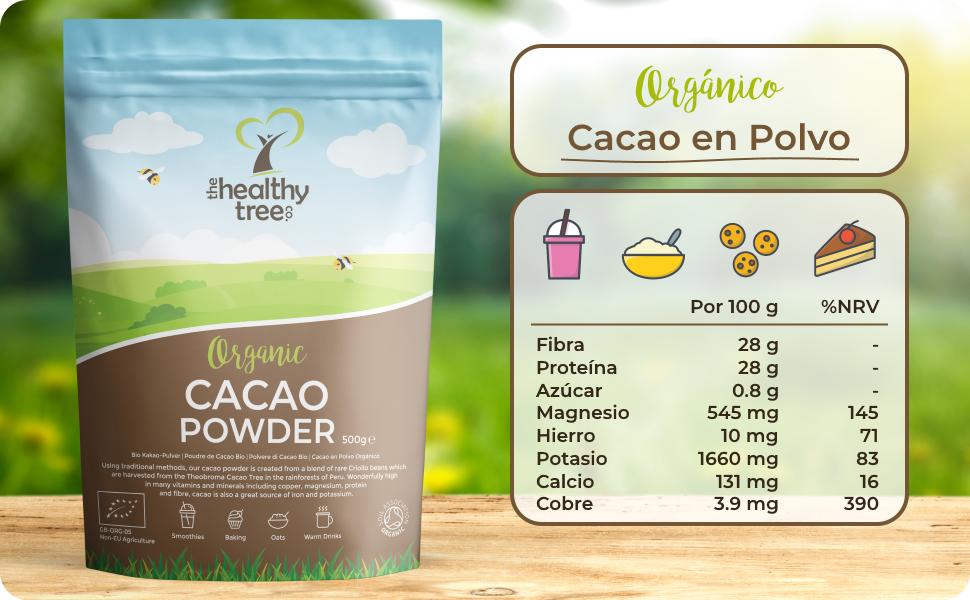 Cacao Crudo Orgánico en Polvo de TheHealthyTree Company para Yogur, Batidos y Repostería - Alto Contenido de Proteínas, Magnesio, Fibra y Potasio - ...
