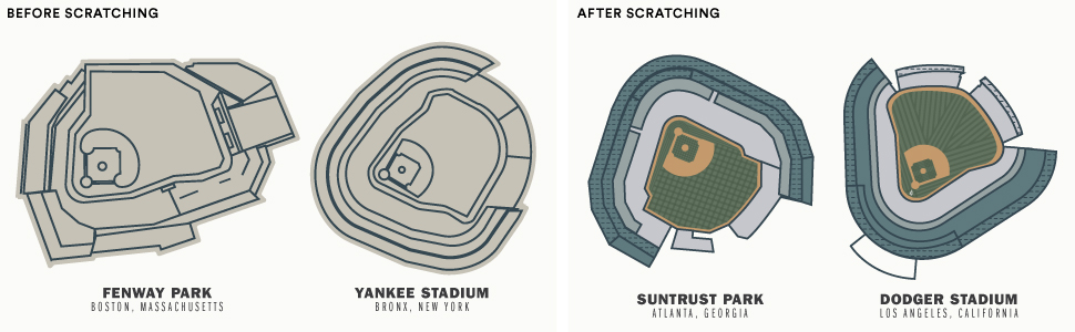 Baseball Stadium illustrations before and after scratching off foil