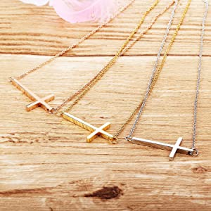 Tiny Cross Pendant Necklace, 18K Gold Plated Stainless Steel Cross Necklace Simple Small Dainty
