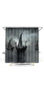 black and white norse pirate boat ship viking sailing ship fantasy scenery lake bedroom home decor
