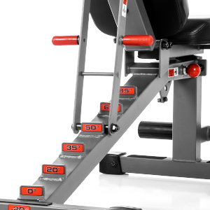 The back of the XM-7630 bench, showing the flat/incline/decline adjustments with degrees labeled
