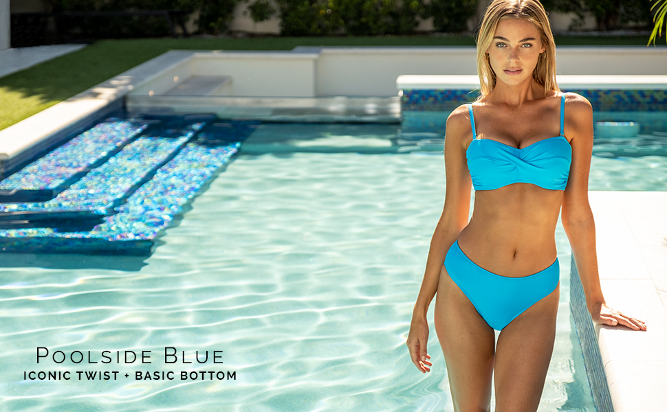 Sunsets Iconic Twist Bandeau and Basic Bottom in Poolside Blue.