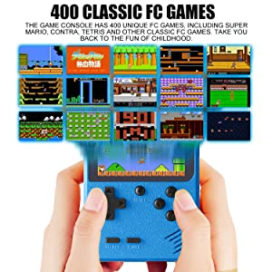 Handheld Game Console, Retro Game Console with 400 Classic Games  Portable  Good Gifts for Kids