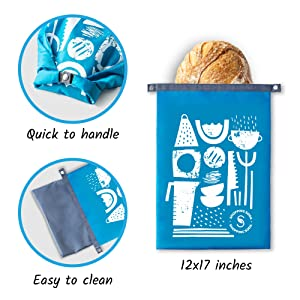 reusable bread freezer bag for homemade bread loaves large