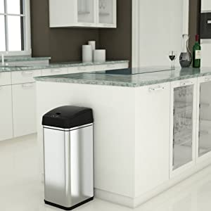 Stainless steel simple human trash bin garbage can good office waste office home recycle