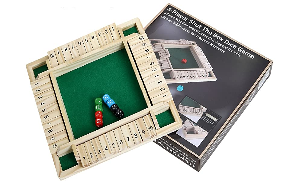 Educational Wooden Number Board Four-Person Digital Flop Game CBDGN 4 Player Shut The Box Wooden Table Game Dice Number Puzzle Toy for Family Parent-Child Games Party Travel Green