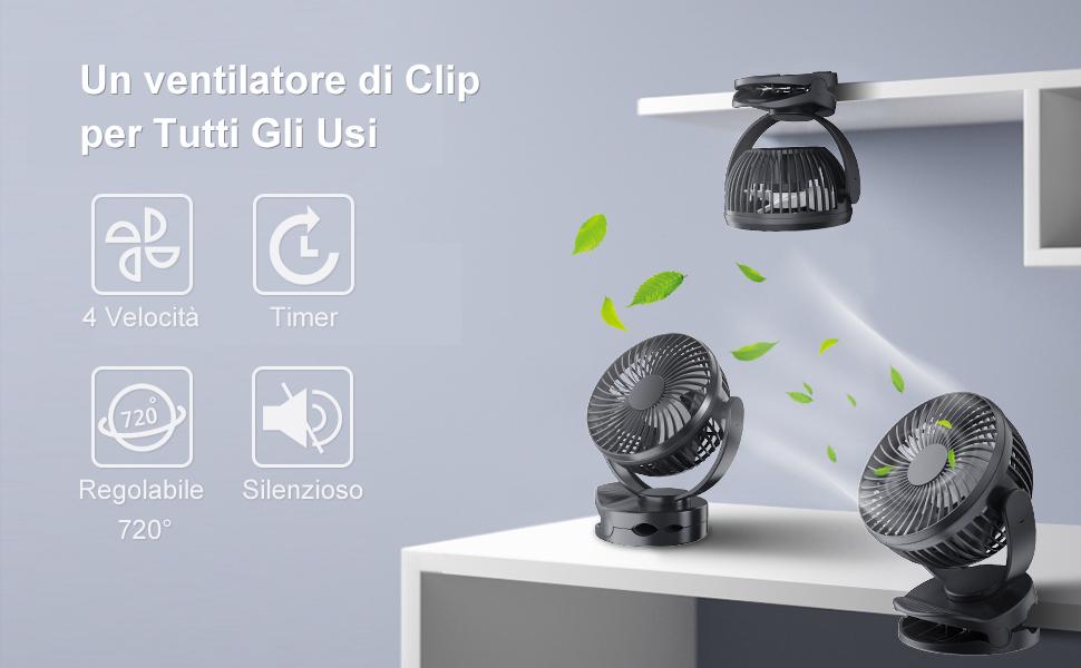 Ventilatore USB Portatile Silenzioso,Mini Ventilatori Clip da Tavolo con Temporizzato,Batteria 4400 mAh Incorporata Ricaricabile,4 velocità per Casa