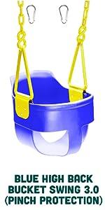 Blue High Back Full Bucket Toddler Swing Seat 3.0