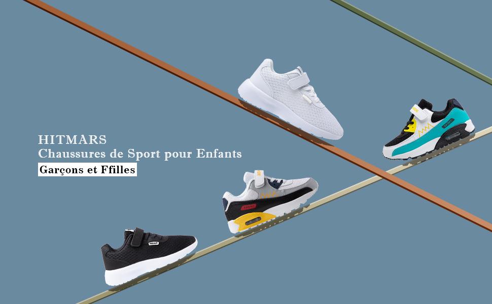 Basket Enfants Gar/çon Fille Chaussure de Course L/ég/ères Chaussure de Sports Marchant Respirant Sneakers Mode Lacets Noir Bleu Vert Orange EU21-EU39