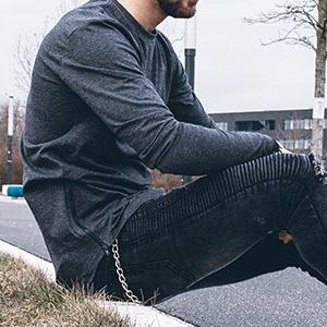 Diverse Farben Blackskies Side Zip Langarm T-Shirt Langes Oversize Fashion Basic Longsleeve Herren Longshirt Long Tee mit Rei/ßverschluss