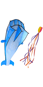 3D Kite Large Blue Dolphin