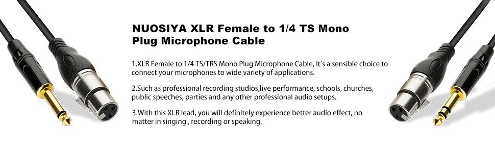 NUOSIYA XLR Female to 1/4 TS Mono Plug Microphone Cable